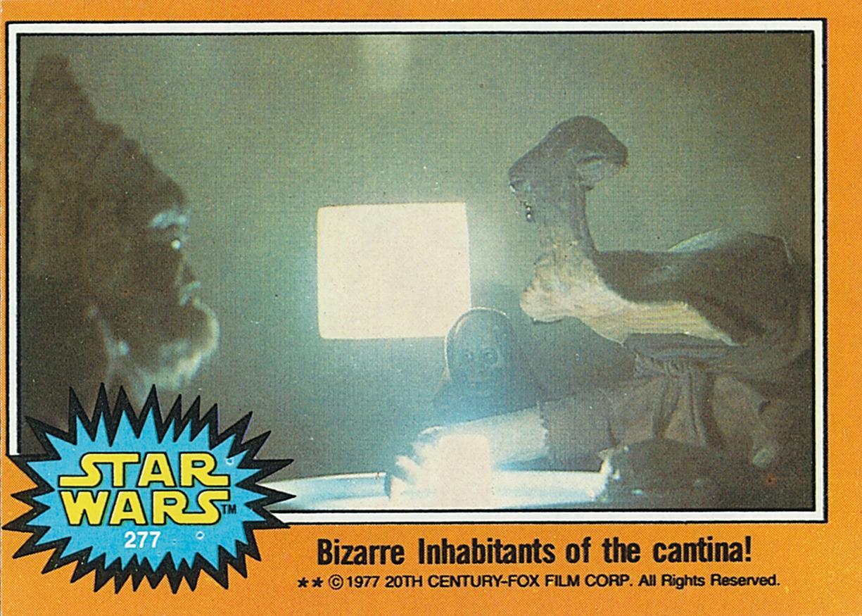 """<p>It wasn't until the fifth and final wave of <i>Star Wars</i> cards that Topps was able to get images of the film's popular Mos Eisley Cantina scene and its bizarre patrons like """"Hammerhead,"""" later known as Momaw Nadon. Many of the last series featured aliens from that sequence.<i>(Credit: Abrams ComicArts and Lucasfilm, LTD 2015)</i></p>"""