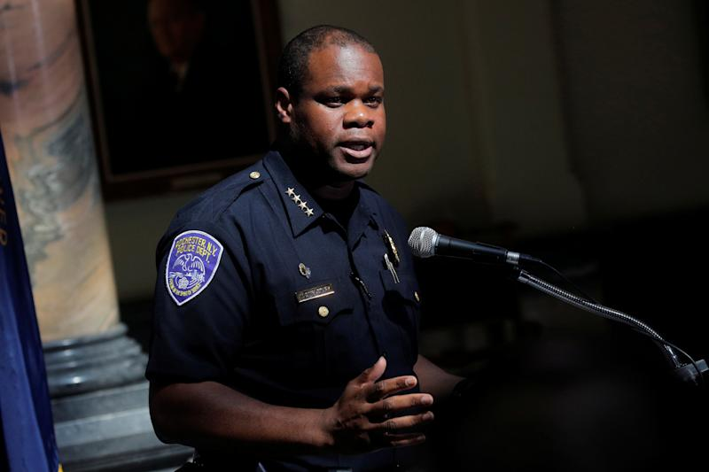 Rochester Police Chief, La'Ron Singletary speaks during a news conference regarding the protests over the death of a Black man, Daniel Prude, after police put a spit hood over his head during an arrest on March 23, in Rochester, New York, U.S. September 6, 2020. REUTERS/Brendan McDermid