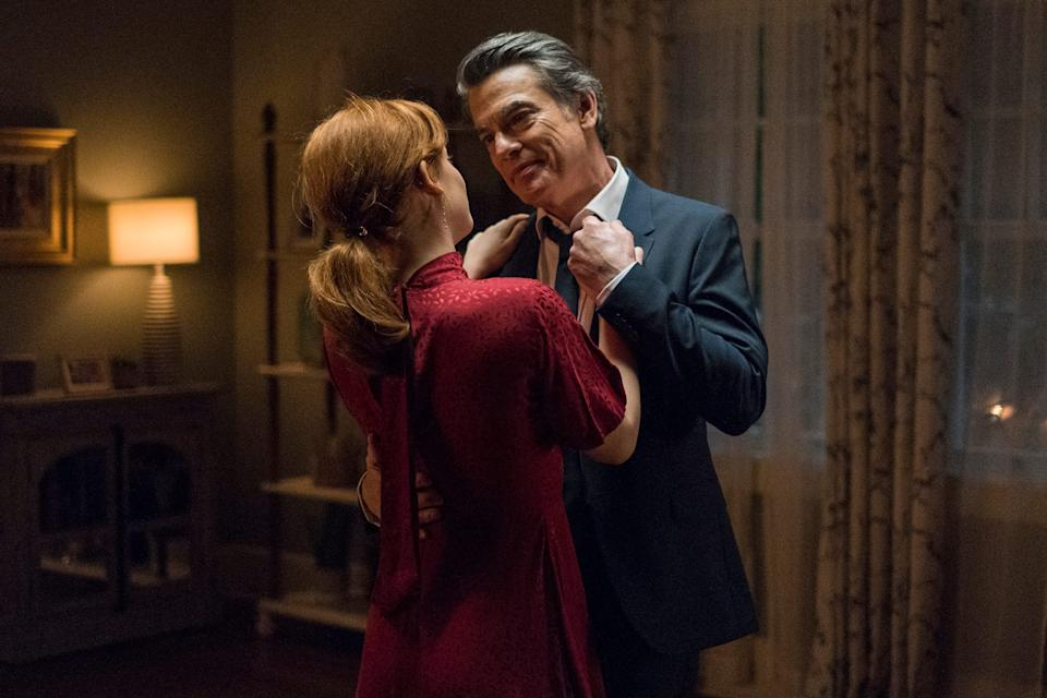"""Jane Levy as Zoey Clarke and Peter Gallagher as Mitch dance together in the """"Zoey's Extraordinary Playlist"""" season finale."""