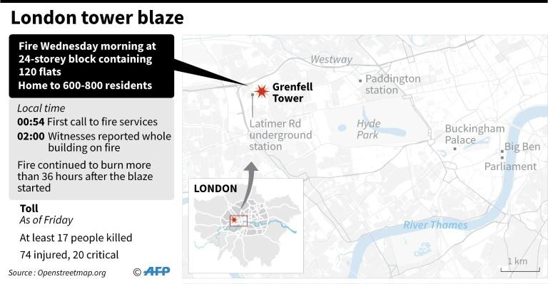 Graphic showing site of the London tower block gutted by Wednesday's fire as the death toll appeared set to rise well above the 30 known fatalities