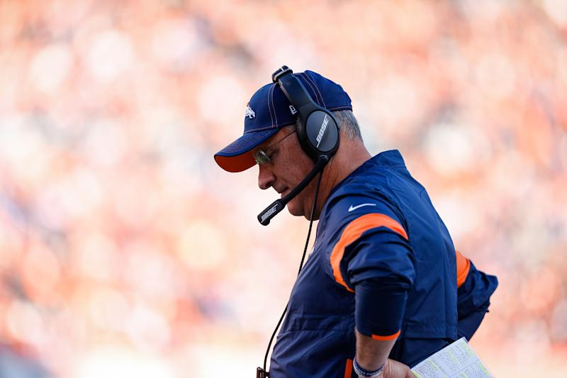 Oct 13, 2019; Denver, CO, USA; Denver Broncos head coach Vic Fangio in the fourth quarter against the Tennessee Titans at Empower Field at Mile High. Mandatory Credit: Isaiah J. Downing-USA TODAY Sports