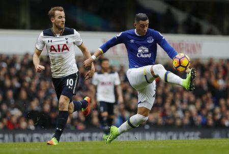 Everton's Ramiro Funes Mori in action with Tottenham's Harry Kane