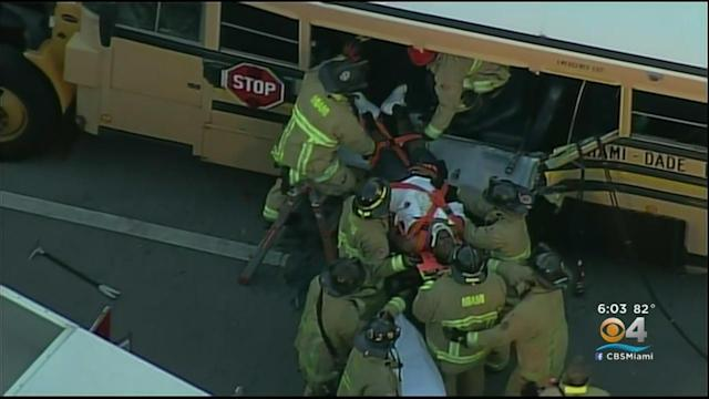 Miami-Dade School Bus Aide Rescued After Garbage Truck Crash