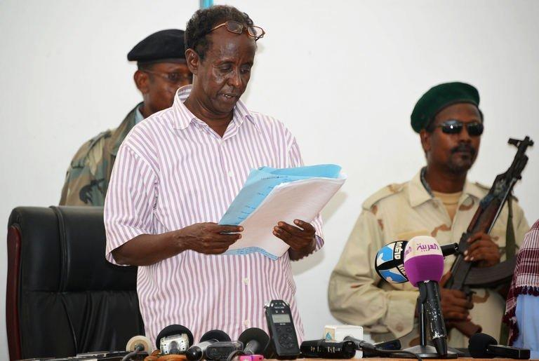Mogadishu court chairman Ahmed Aden Farah reads a verdict inside a court in Mogadishu on February 5, 2013, jailing a woman who claimed she was raped by security forces, for insulting state institutions in a case that has alarmed the United Nations and rights groups
