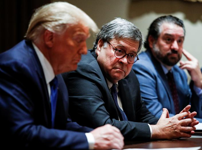 U.S. Attorney General  William Barr listens  during a discussion with state attorneys general at the White House in Washington on September 23, 2020. (Tom Brenner/Reuters)
