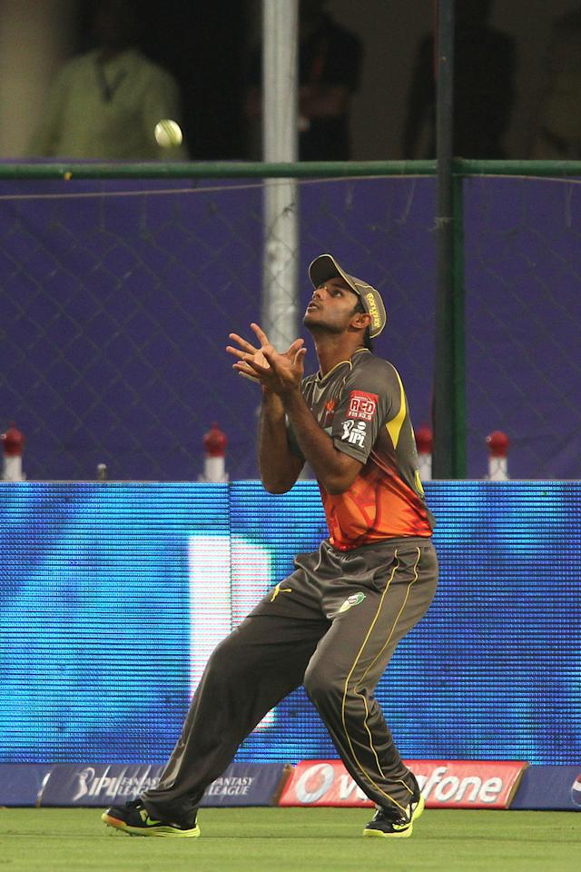 Hanuma Vihari of Sunrisers Hyderabad gets under the ball to take the catch to get Rajasthan Royals captain Rahul Dravid wicket during match 36 of the Pepsi Indian Premier League (IPL) 2013 between The Rajasthan Royals and the Sunrisers Hyderabad held at the Sawai Mansingh Stadium in Jaipur on the 27th April 2013. (BCCI)