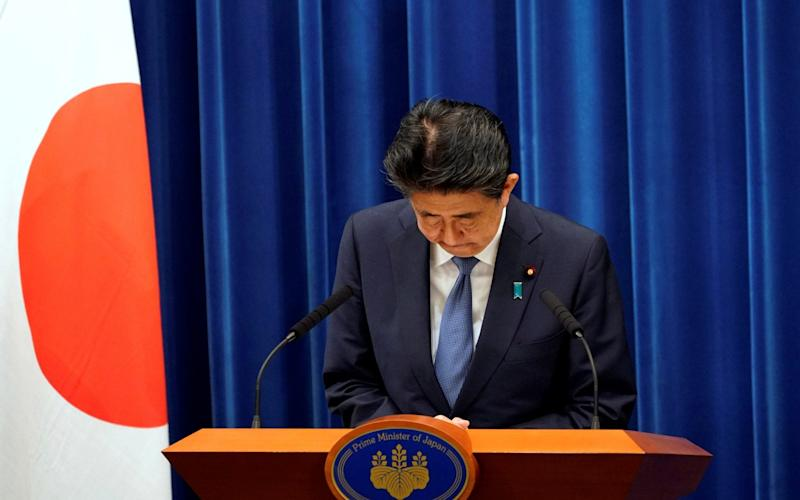 Mr Abe's views on the Japanese constitution are thought to have been heavily influenced by his maternal grandfather Nobusuka Kishi - Pool/Reuters