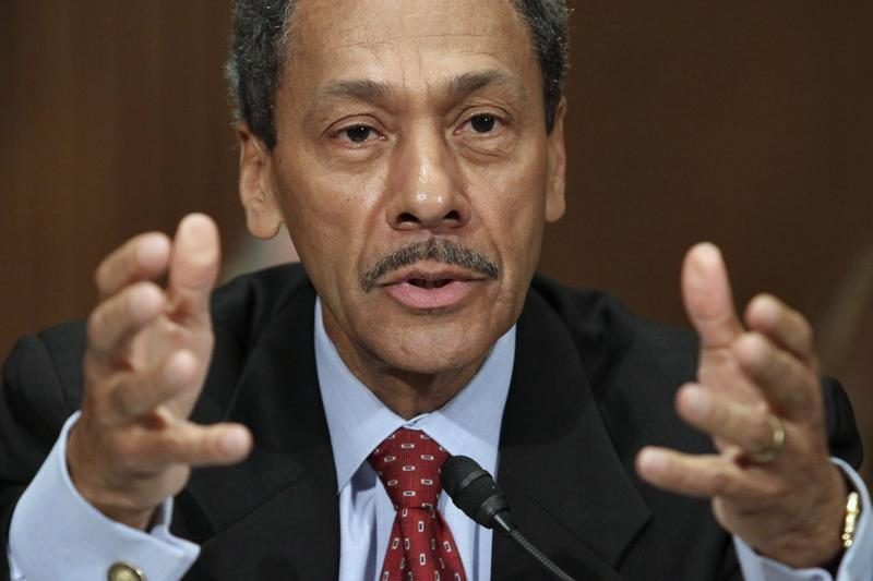 Representative Mel Watt testifies before the Senate Banking, Housing and Urban Affairs Committee confirmation hearing to be the regulator of mortgage finance firms Fannie Mae and Freddie Mac in Washington