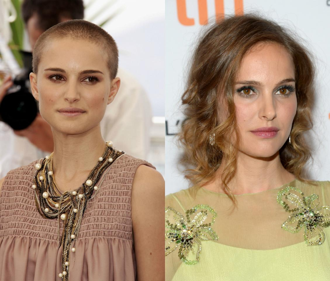 <p>In 2005, Natalie Portman made headlines for shaving her head for her role in 'V for Vendetta'. <i>[Photo: Getty]</i></p>