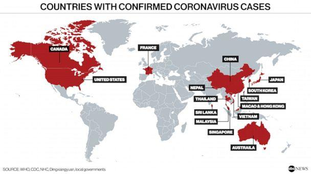 PHOTO: Countries with confirmed coronavirus cases (ABC News, WHO, CDC, NHC, Dingxiangyuan, local governments)