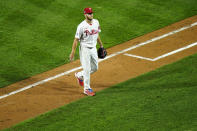 Philadelphia Phillies pitcher Zack Wheeler walks off the field after being pulled during the sixth inning of a baseball game against the Atlanta Braves, Friday, Aug. 28, 2020, in Philadelphia. (AP Photo/Matt Slocum)