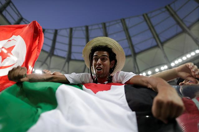 Soccer Football - World Cup - Group G - Tunisia vs England - Volgograd Arena, Volgograd, Russia - June 18, 2018 A fan before the match REUTERS/Jorge Silva