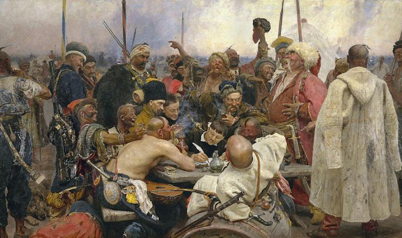 Ilya Repin's painting of the Zaporozhian Cossacks' missive to Sultan Mehmed IV (1880-91). But will Sir Tim Barrow's journey to Brussels last week get a similar treatment one day?