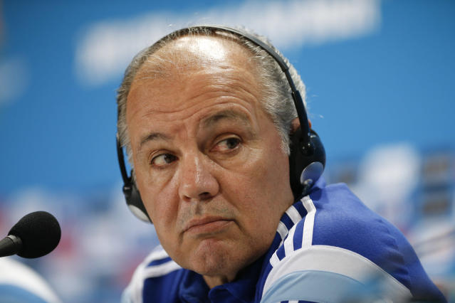 Argentina's head coach Alejandro Sabella listens to a question during a news conference at Mineirao Stadium in Belo Horizonte, Brazil, Friday, June 20, 2014. Argentina plays in group F of the 2014 soccer World Cup. (AP Photo/Victor R. Caivano)