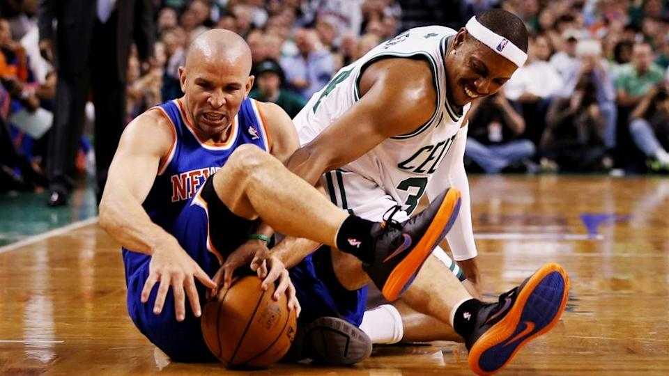 May 3, 2013; Boston, MA, USA; Boston Celtics small forward Paul Pierce (34) and New York Knicks point guard Jason Kidd (5) fight for the loose ball in game six of the first round of the 2013 NBA Playoffs at TD Garden. Mandatory Credit: David Butler II-USA TODAY Sports