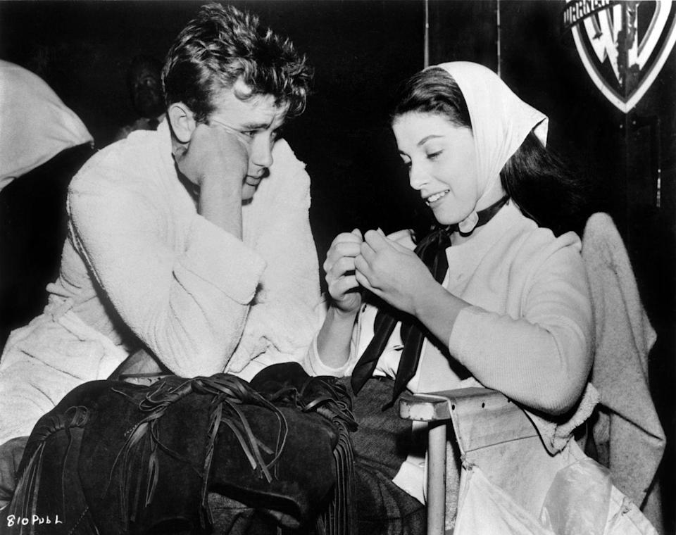 <p>Dean landed his first major movie role in 1954's <em>East of Eden</em>. Here, the actor is seen on set with his Italian girlfriend, actress Pier Angeli. </p>