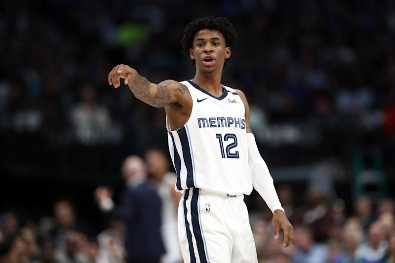 Ja Morant, the former Murray State star, wants a statue of Confederate general Robert E. Lee to come down. (Ronald Martinez/Getty Images)