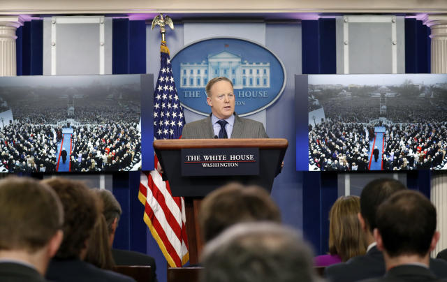 White House press secretary Sean Spicer at a news conference on Jan. 21. (Photo: Alex Brandon/AP)