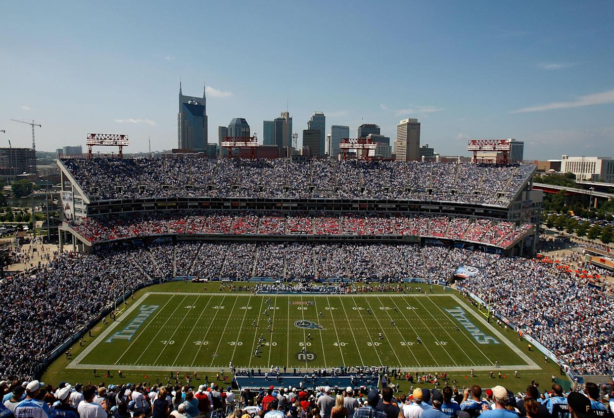 A fan was taken to the hospital on Sunday after falling through netting at Nissan Stadium during the Tennessee Titans' 34-10 win against the New England Patriots. (Getty Images)