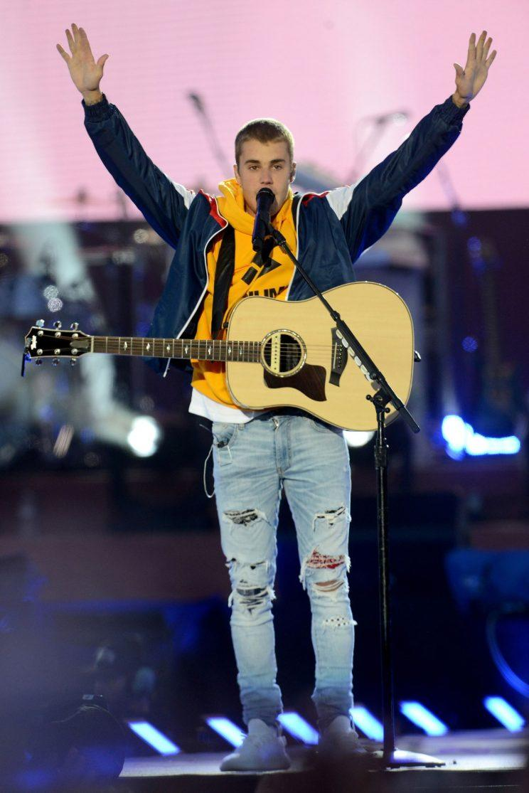 Justin Bieber performs at the One Love Manchester tribute concert in Manchester. Photo: (Dave Hogan via AP)