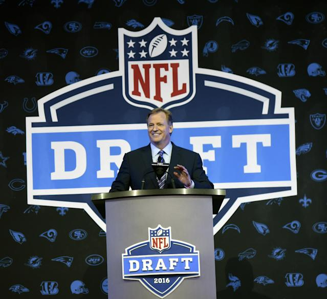 The NFL Draft roadshow will continue, with the league naming five finalist cities on Thursday to host the 2019 and 2020 drafts. (AP)