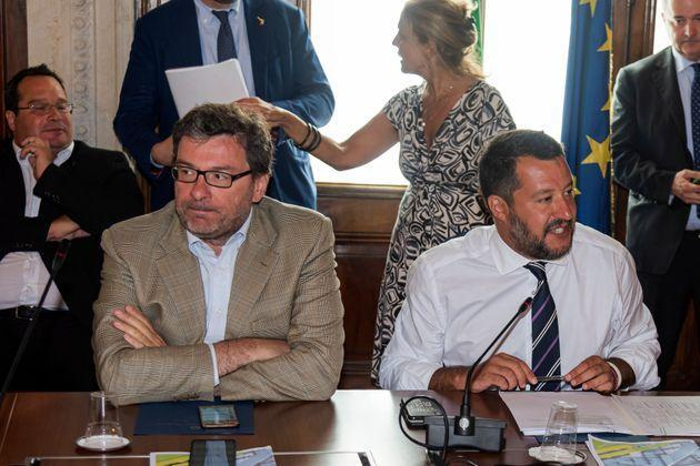 ROME, ITALY - AUGUST 06: The undersecretary of the Council of Ministers Giancarlo Giorgetti and Interior Minister Matteo Salvini  during the meeting of the Minister of the Interior Matteo Salvini with the social partners to present the next Government Budget Law on August 6, 2019 in Rome, Italy. The meeting was attended by more than forty acronyms, from Confindustria to the trade unions Cgil, Cisl and Uil, Confartigianato all'Abi, Confedilizia, Legacoop, Confcooperative and Ania. (Photo by Stefano Montesi - Corbis/Corbis via Getty Images) (Photo: Stefano Montesi - Corbis via Getty Images)