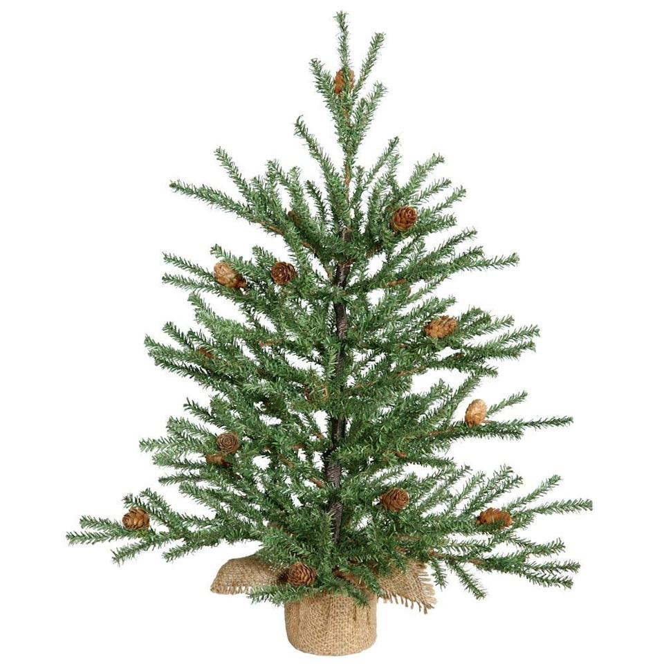 "<p>The <a href=""https://www.popsugar.com/buy/Vickerman-Carmel-Pine-Tree-Pine-Cones-365931?p_name=Vickerman%20Carmel%20Pine%20Tree%20With%20Pine%20Cones&retailer=amazon.com&pid=365931&price=33&evar1=moms%3Aus&evar9=45287444&evar98=https%3A%2F%2Fwww.popsugar.com%2Ffamily%2Fphoto-gallery%2F45287444%2Fimage%2F45287543%2FVickerman-Carmel-Pine-Tree-Pine-Cones&list1=amazon%2Choliday%2Cchristmas%2Cchristmas%20trees&prop13=api&pdata=1"" rel=""nofollow"" data-shoppable-link=""1"" target=""_blank"" class=""ga-track"" data-ga-category=""Related"" data-ga-label=""https://www.amazon.com/Vickerman-Carmel-Pine-Cones-Burlap/dp/B004VMFUVC/ref=zg_bs_13679421_8?_encoding=UTF8&amp;refRID=YDN85SNHZ2BRM7XHY9VQ&amp;th=1"" data-ga-action=""In-Line Links"">Vickerman Carmel Pine Tree With Pine Cones</a> ($33, originally $38) has a rustic-inspired burlap base.</p>"