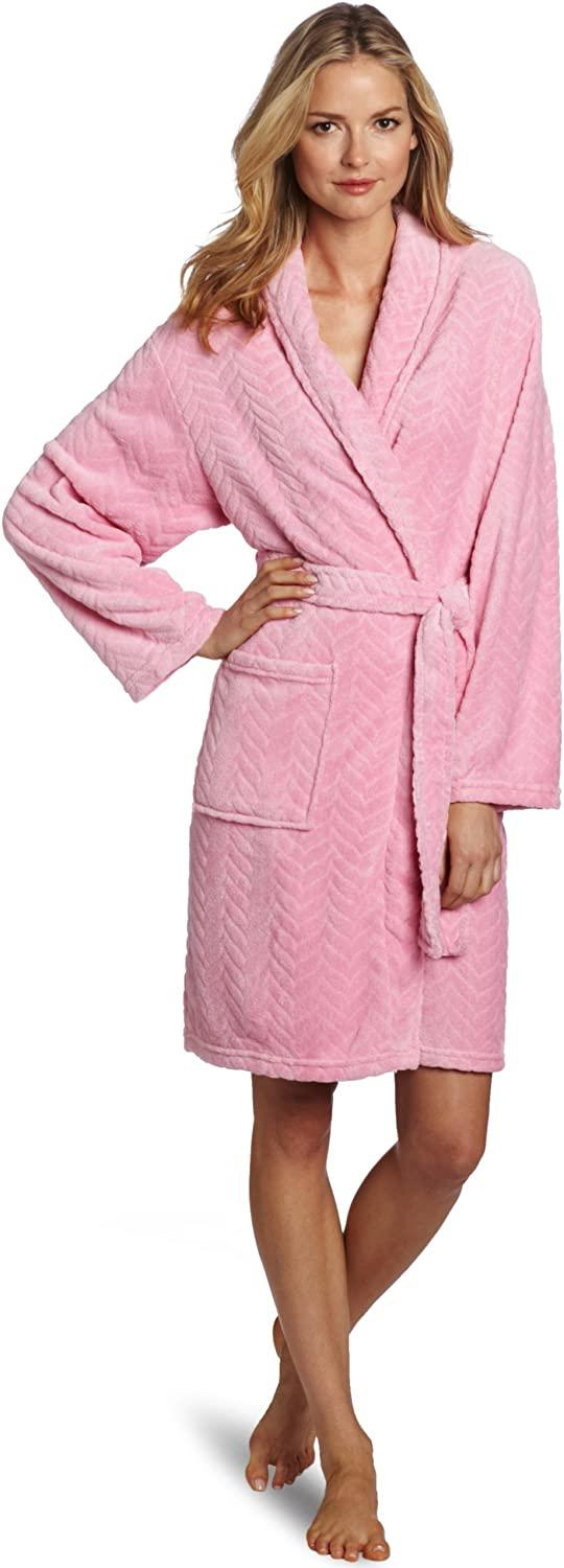 Hotel Spa Collection Herringbone Robe in bright pink