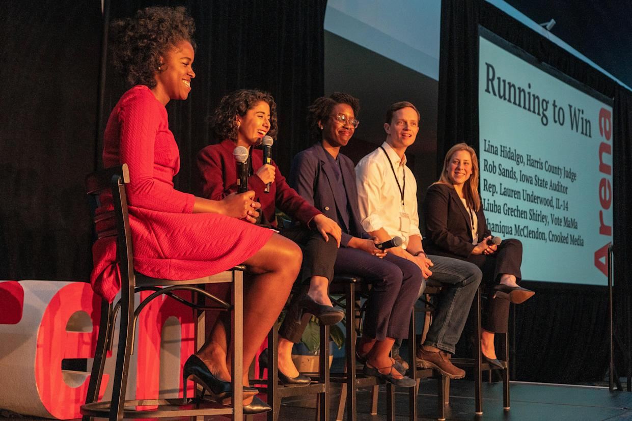 A panel discussion with (left to right) Shaniqua McClendon, Lina Hidalgo, Lauren Underwood, Rob Sand and Liuba Grechen Shirley at Arena Academy. (Photo: Lee Pedinoff)