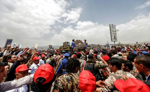 A truck carries the coffin of the Yemeni Huthi rebels' political chief Saleh al-Sammad during his funeral in Sanaa on April 28, 2018
