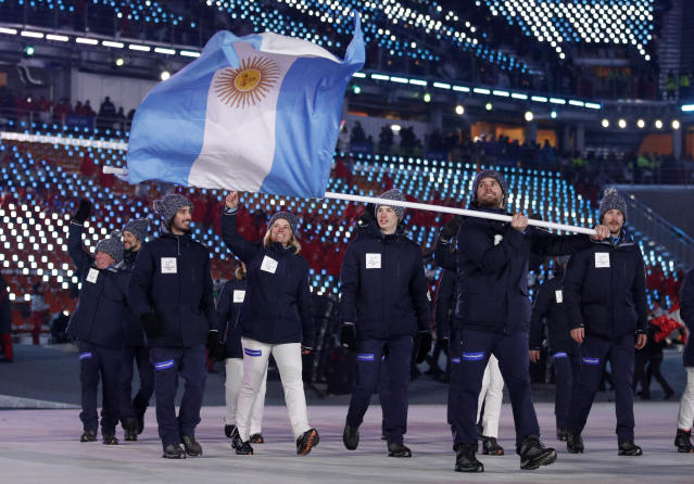 <p>Sebastiano Gastaldi carries the flag of Argentina during the opening ceremony of the 2018 Winter Olympics in Pyeongchang, South Korea, Friday, Feb. 9, 2018. (AP Photo/Jae C. Hong) </p>