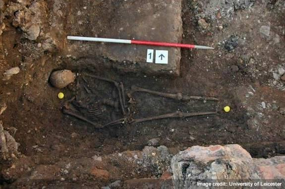 The remains of what may be King Richard III, showing a curved spine and signs of battle trauma.