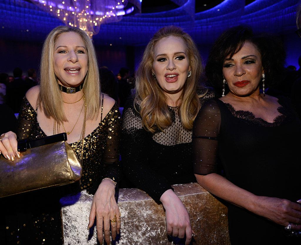 Barbra Streisand, Adele, winner of the Best Original Song award for 'Skyfall,' and Shirley Bassey  attend the Oscars Governors Ball at Hollywood & Highland Center on February 24, 2013 in Hollywood, California.