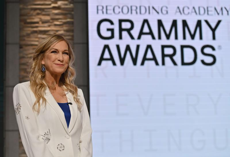 Recording Academy president and CEO Deborah Dugan speaks during the 62nd Grammy Awards Nominations Conference on November 20, 2019 in New York City.