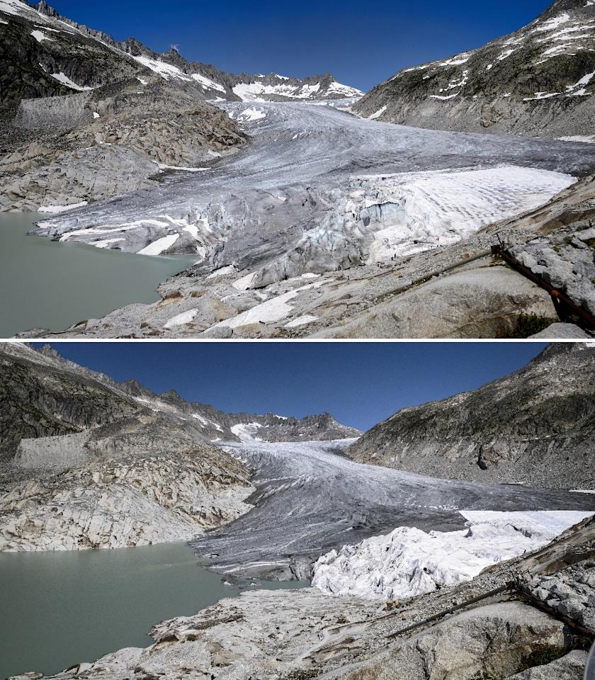 This combination created on October 8, 2018, shows (TOP) the Rhone Glacier, near Gletsch on July 14, 2015 and (BOTTOM) the same location on August 16, 2018 (AFP Photo/Fabrice COFFRINI)