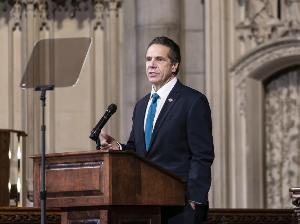 Governor Andrew Cuomo delivers remarks at Riverside Church during morning worship on the inequities in the Trump administration's vaccine distribution plan. (Lev Radin/Pacific Press/LightRocket via Getty Images)