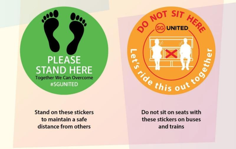 Sample of safe-distancing stickers to be put up by LTA on public transport network. (PHOTO: Land Transport Authority)