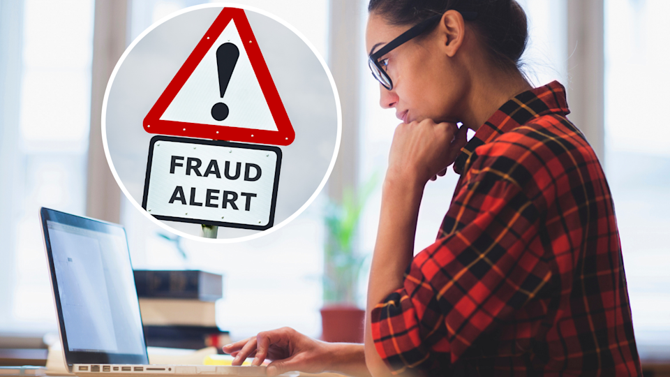 Image of woman on a laptop with fraud sign