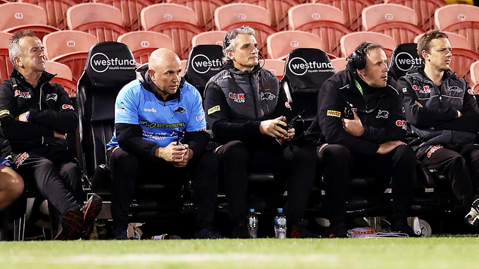 Hayden Knowles, pictured here on the bench during Penrith's clash with the Eels.