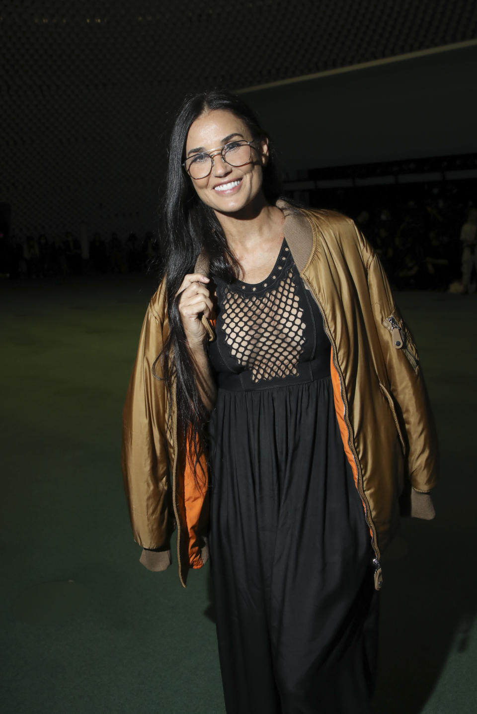 Demi Moore arrives for the Stella McCartney Spring-Summer 2022 ready-to-wear fashion show presented in Paris, Monday, Oct. 4, 2021. (Photo by Vianney Le Caer/Invision/AP)
