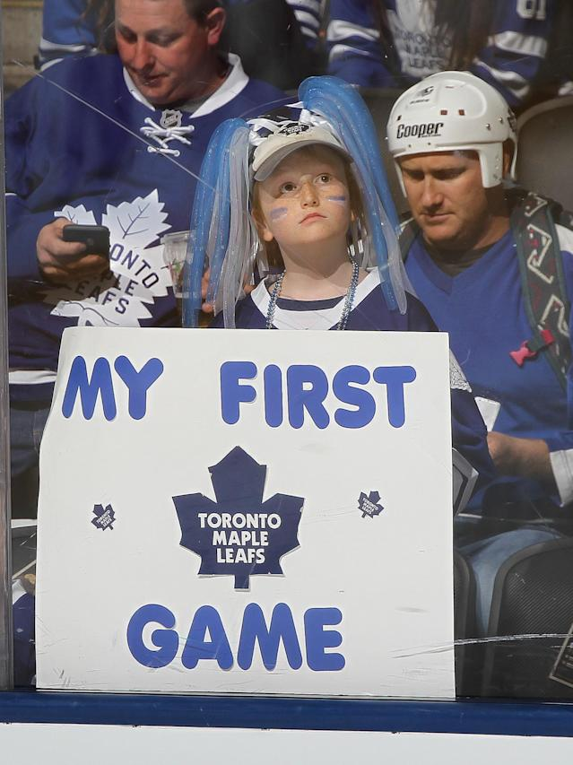 <p>A young Maple Leafs fan gets set to take in his 1st game between the Washington Capitals and the Toronto Maple Leafs in Game Four of the Eastern Conference Quarterfinals during the 2017 NHL Stanley Cup Playoffs at Air Canada Centre on April 19, 2017 in Toronto, Ontario, Canada. The Capitals defeated the Maple Leafs 5-4 to even series 2-2. (Photo by Claus Andersen/Getty Images) </p>