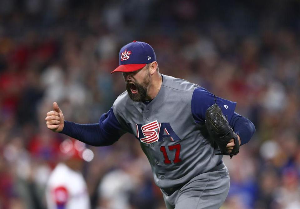 Pat Neshek helped the U.S. close out Japan in the semifinals of the WBC. (Getty)