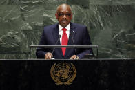 Hubert Alexander Minnis, Prime Minister of Bahamas, addresses the 74th session of the United Nations General Assembly, Friday, Sept. 27, 2019. (AP Photo/Richard Drew)