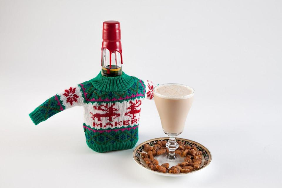 """<p><strong>Ingredients</strong><br>1.5 oz <span class=""""redactor-unlink"""">Maker's Mark Bourbon</span><br>1.5 oz almond milk<br>.5 oz aged rum <br>.75 oz maple syrup<br>.25 oz pimento dram <br>.25 oz walnut liqueur<br>3 dashes Angostura bitters</p><p><strong>Instructions</strong><br>Combine all ingredients in a shaker tin and shake with ice. Strain into a glass and grate fresh cinnamon and nutmeg over the mixture. </p><p><em>By Pam Wiznitzer, president of the <a href=""""http://usbg.org/"""" rel=""""nofollow noopener"""" target=""""_blank"""" data-ylk=""""slk:United States Bartenders' Guild"""" class=""""link rapid-noclick-resp"""">United States Bartenders' Guild</a></em></p>"""