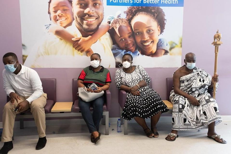 Traditional leaders wait their turn to receive Oxford/AstraZeneca vaccines at the Ridge Hospital in Accra, Ghana (AFP via Getty Images)