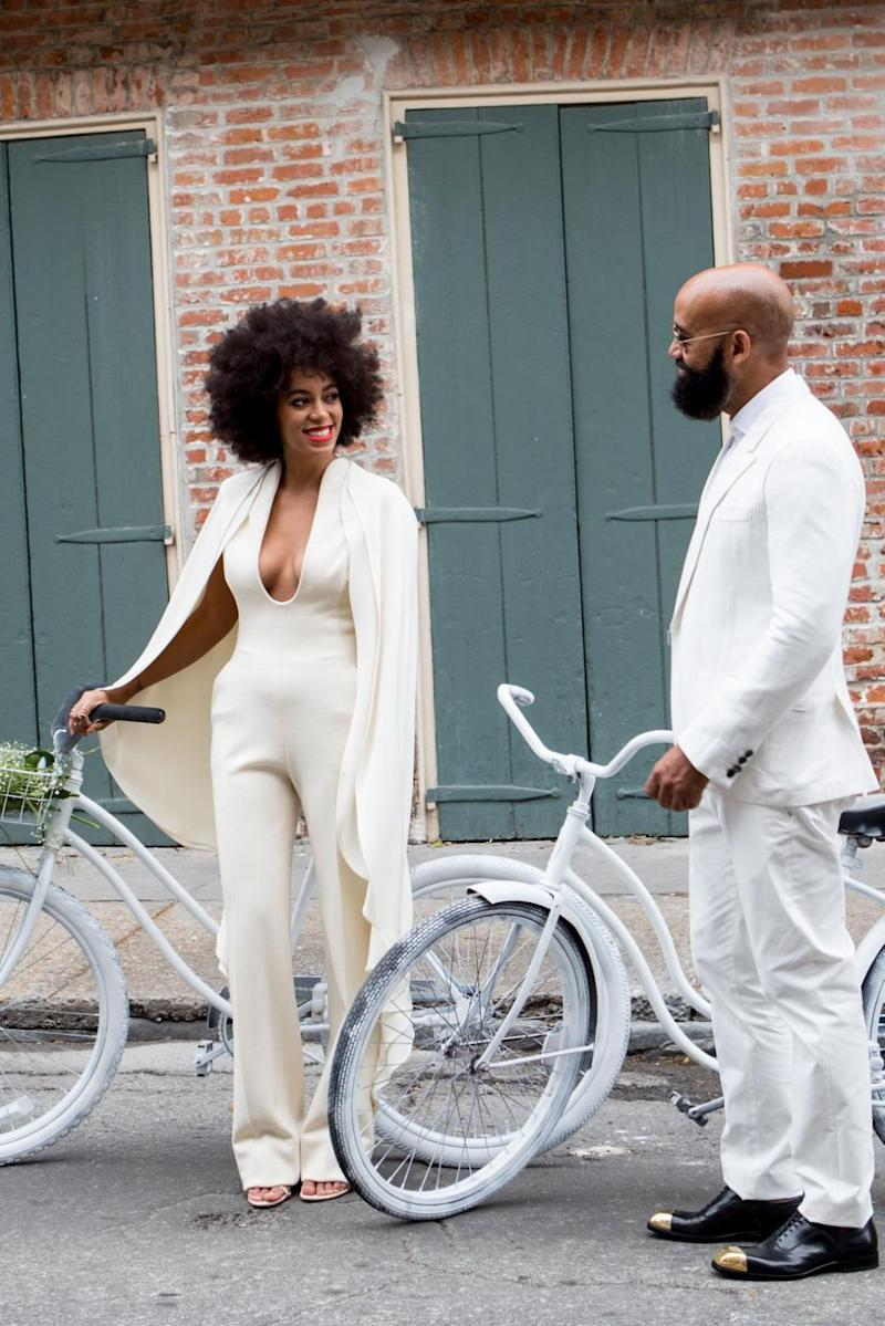 Solange Knowles wore a jumpsuit for her wedding back in 2014. Photo: Getty Images