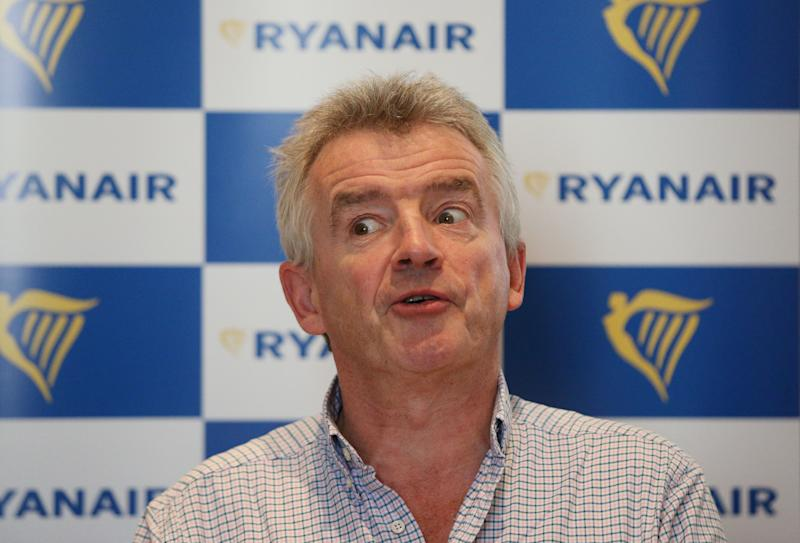 Ryanair Chief Executive Officer Michael O'Leary during a press conference at The Grosvenor Hotel in London.