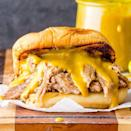 "<p><strong>Pulled Pork Sandwich with Mustard Sauce</strong></p><p>What's different about South Carolina's Pulled Pork Sandwich with Mustard Sauce is -- in fact the tangy mustard base. It's all about the sauces at <a href=""http://southernbellybbq.com/"" rel=""nofollow noopener"" target=""_blank"" data-ylk=""slk:Southern Belly BBQ"" class=""link rapid-noclick-resp"">Southern Belly BBQ</a> -- including the Midas (inspired by South Carolina liquid gold) and the Castro sandwich which tops the pork with pickles, banana peppers and Swiss cheese.</p>"