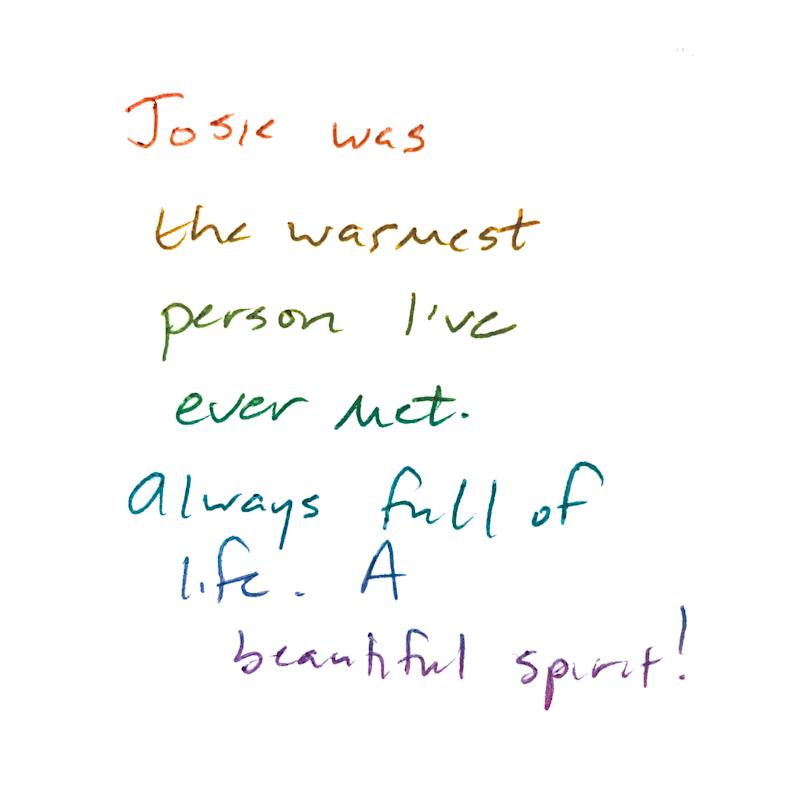 Friends, family and members of the Ithaca community wrote post-it note messages to Josie Berrios at the vigil held to honor her in June 2017. Throughout this story, you'll see illustrations sampling those messages to Berrios.