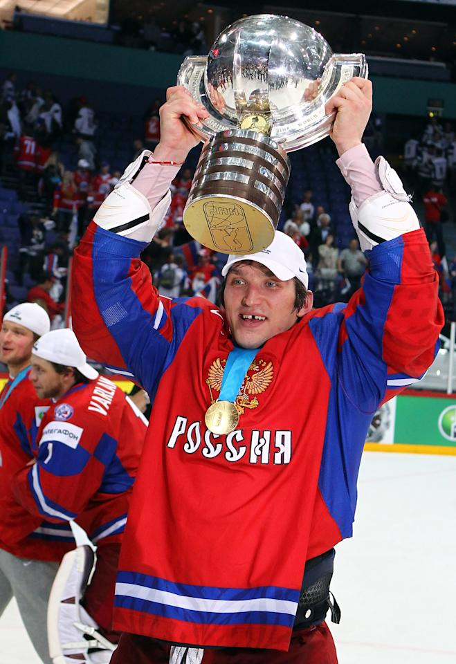HELSINKI, FINLAND - MAY 20:  Alexander Ovechkin of Russia celebrates after winning the gold medal after the IIHF World Championship gold medal match between Russia and Slovakia at Hartwall Arena on May 20, 2012 in Helsinki, Finland.  (Photo by Martin Rose/Bongarts/Getty Images)